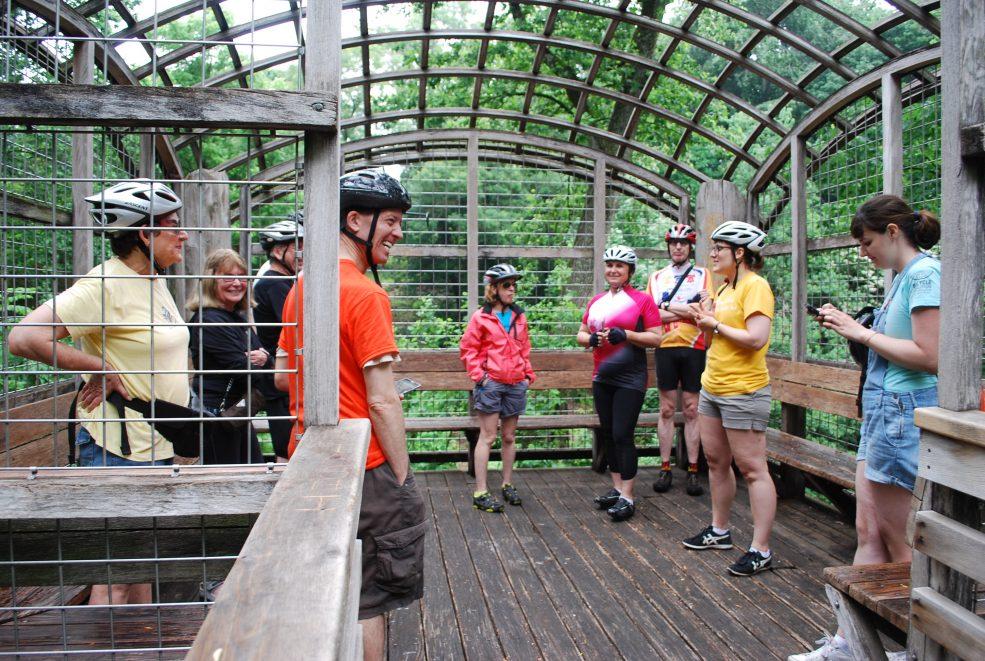 Public art bike tour to Martin Puryear's <em>Pavilion in the Trees</em> (1993) in Fairmount Park. Photo Ashley Lippolis © 2016 for aPA.