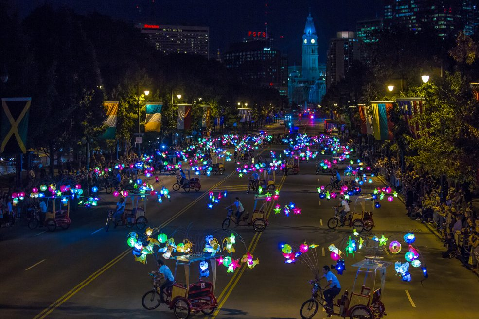 <em>Cai Guo-Qiang: Fireflies</em> opening celebration on the Parkway. Photo Jeff Fusco Photography © 2017.
