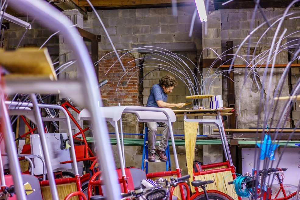 Atelier staff assists with fabrication. Photo Jeff Fusco Photography