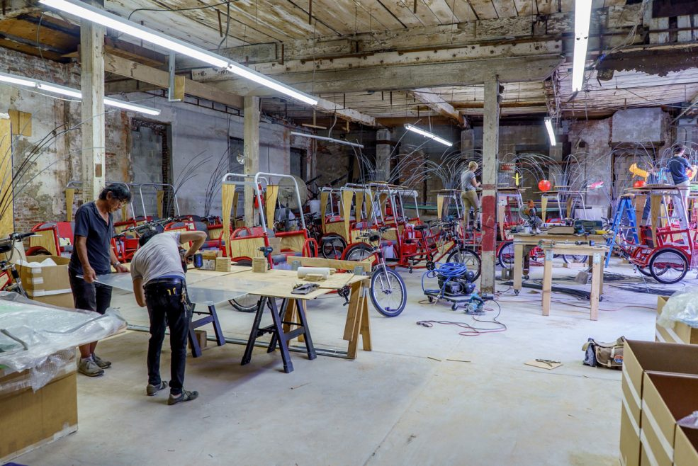 Cai Studio and Atelier staff assist with fabrication. Photo Jeff Fusco Photography