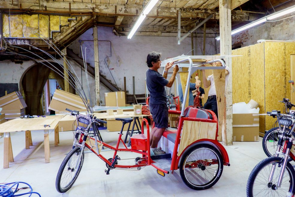Cai Studio technical director, Tatsumi Masatoshi, and staff assist with fabrication. Photo Jeff Fusco Photography