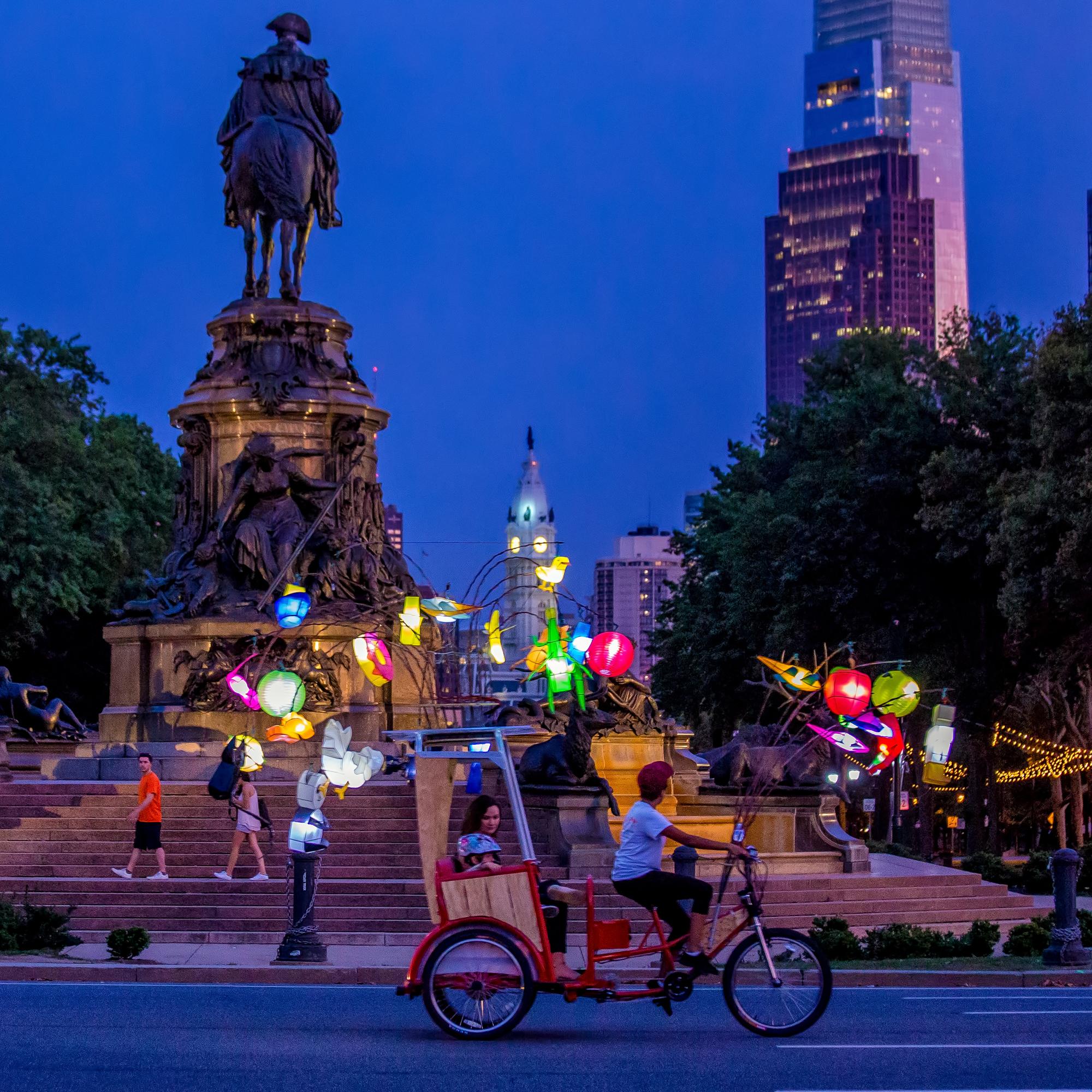 Cai Guo-Qiang Fireflies riding along the Parkway