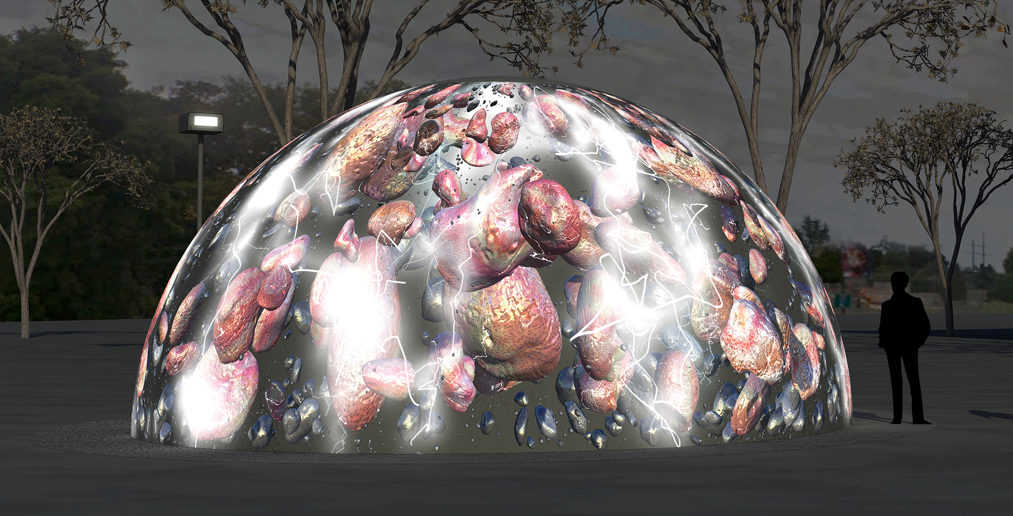 Jennifer Steinkamp Winter Fountains rendering