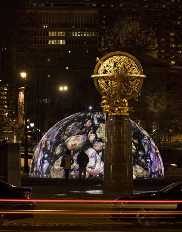 <em>Winter Fountains</em> (2017) by Jennifer Steinkamp, presented by Parkway Council and commissioned by Association for Public Art. Photo James Ewing Photography.