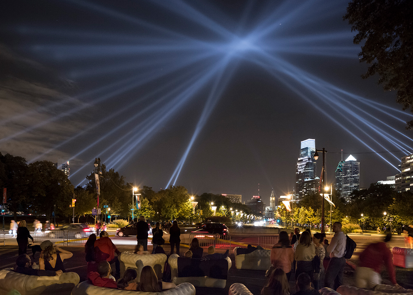 OPEN AIR light installation on the Ben Franklin Parkway at night