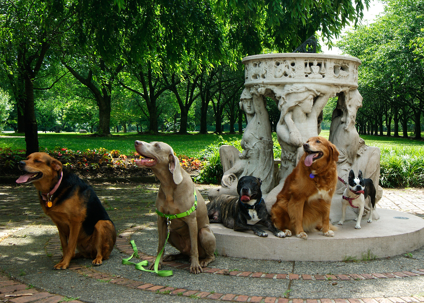 ArtPups at the Sundial sculpture in Fairmount Park