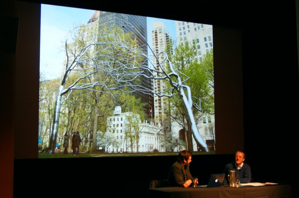 Artist Roxy Paine in conversation with Tom Eccles, 2015 Annual Meeting. Photo © Caitlin Martin