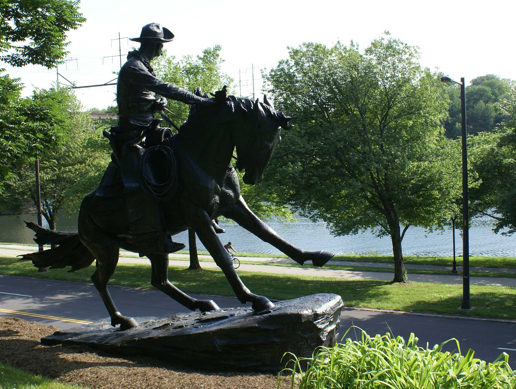 Frederic Remington's Cowboy sculpture looking out toward the Schuylkill River