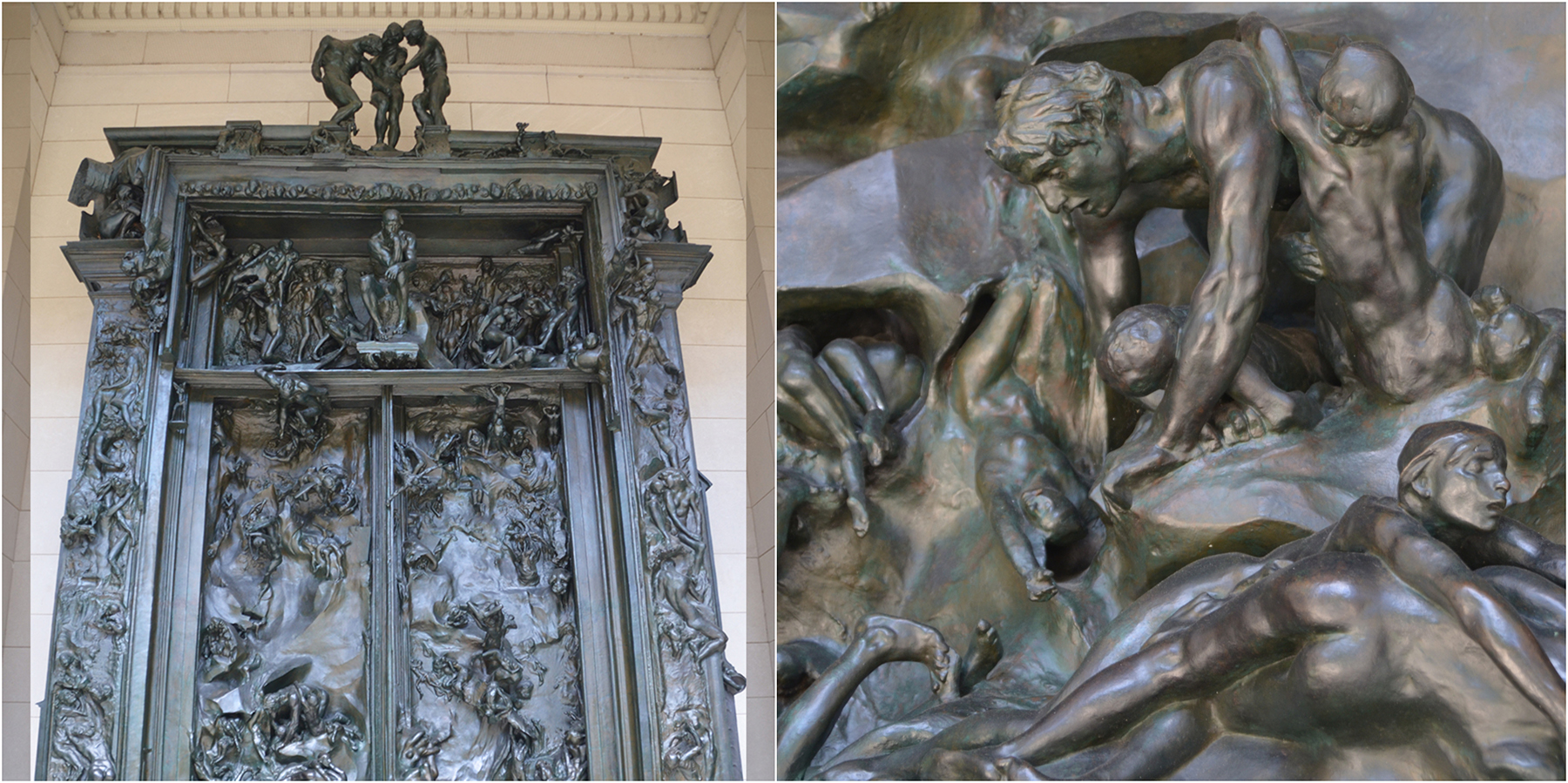 Full view and detail view of Rodin's bronze Gates of Hell at the Rodin Museum in Philadelphia