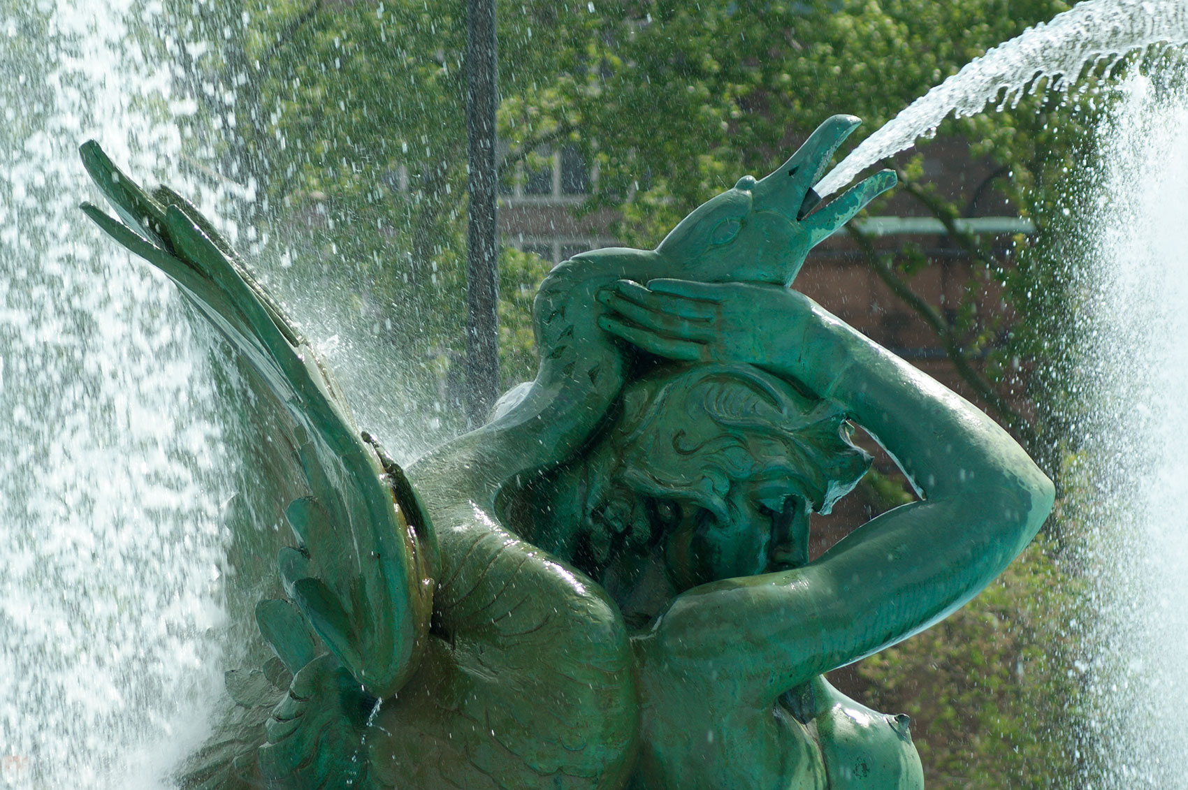Native American and swan sculpture in the Swann Memorial Fountain