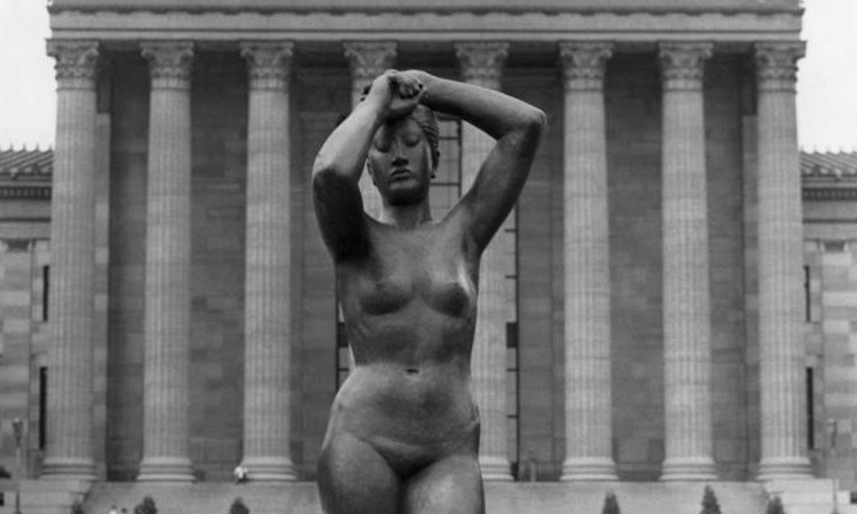 Maja sculpture of female bronze nude atop steps of the Philadelphia Museum of Art - black and white photo