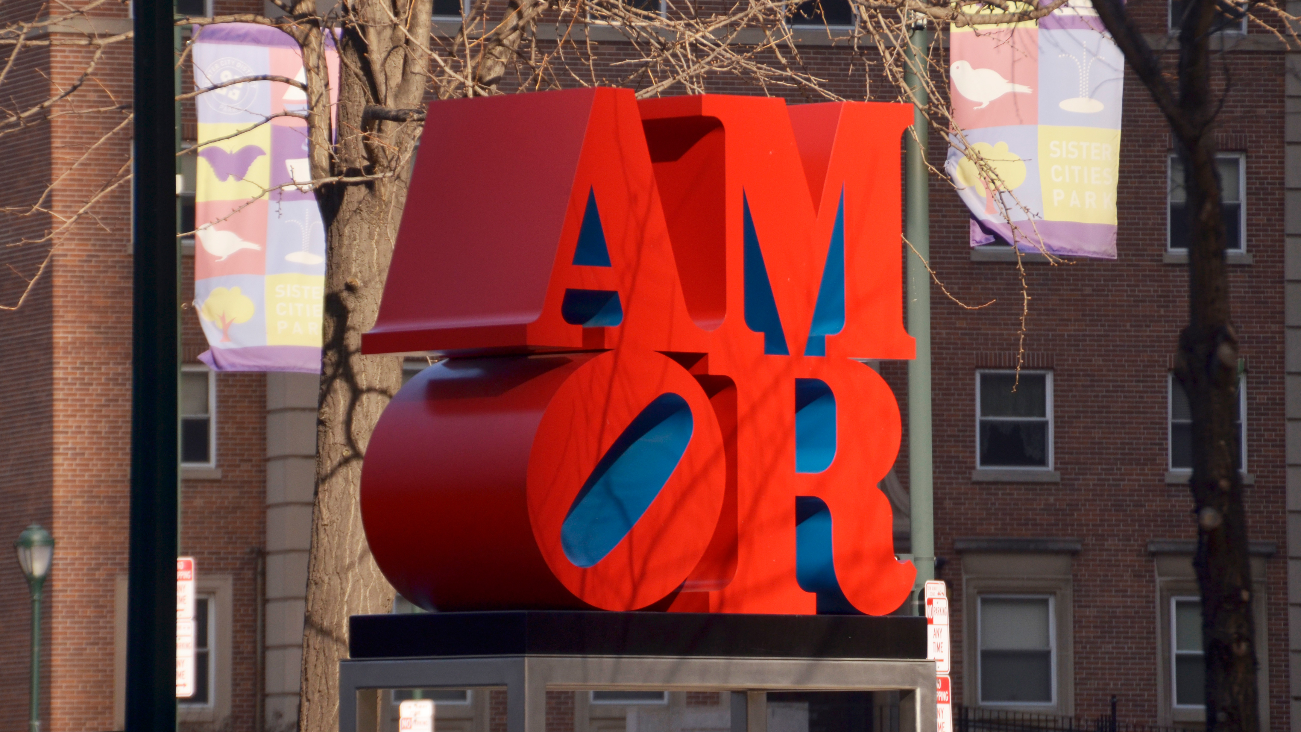 Robert Indiana's red and blue AMOR sculpture in Philadelphia