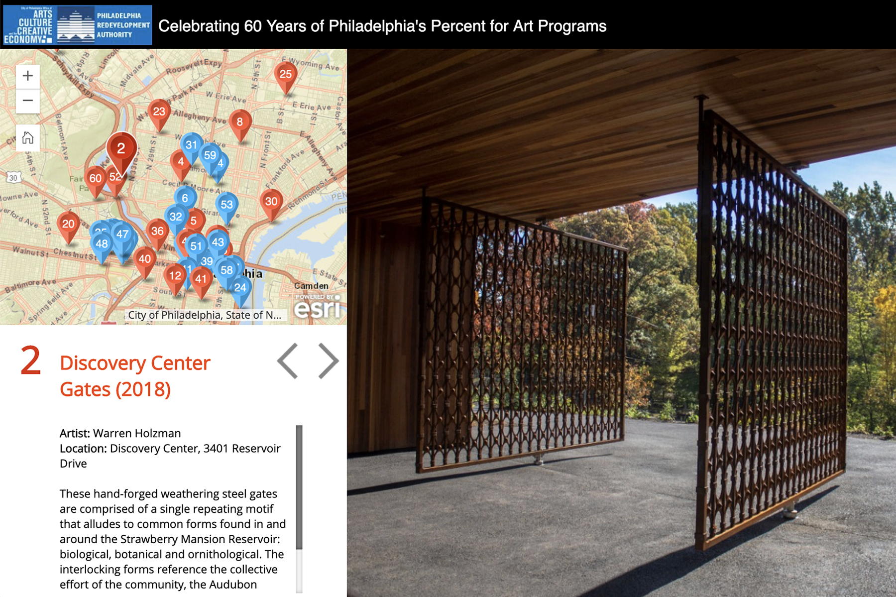 Virtual tour map to celebrate 60 years of Philadelphia's Percent for Art Programs