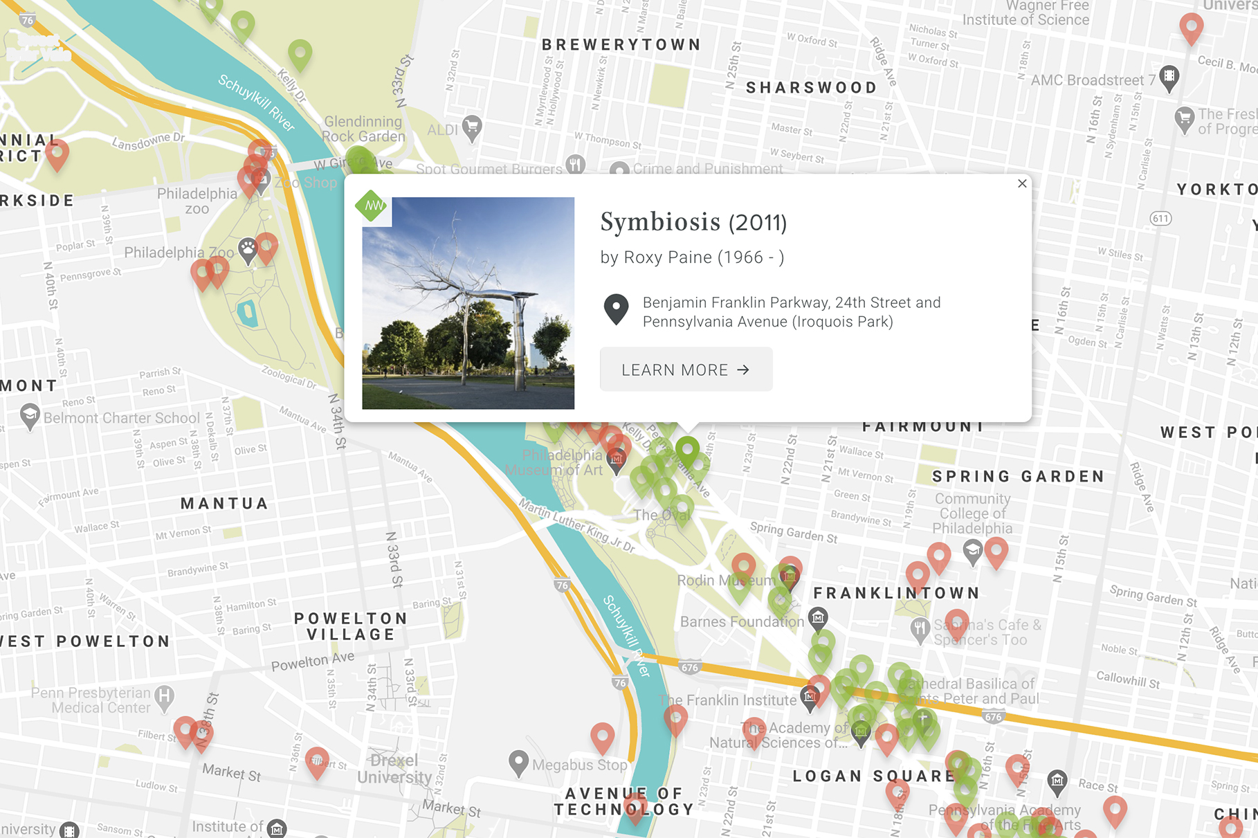 Association for Public Art's interactive public art map for Philadelphia - screenshot