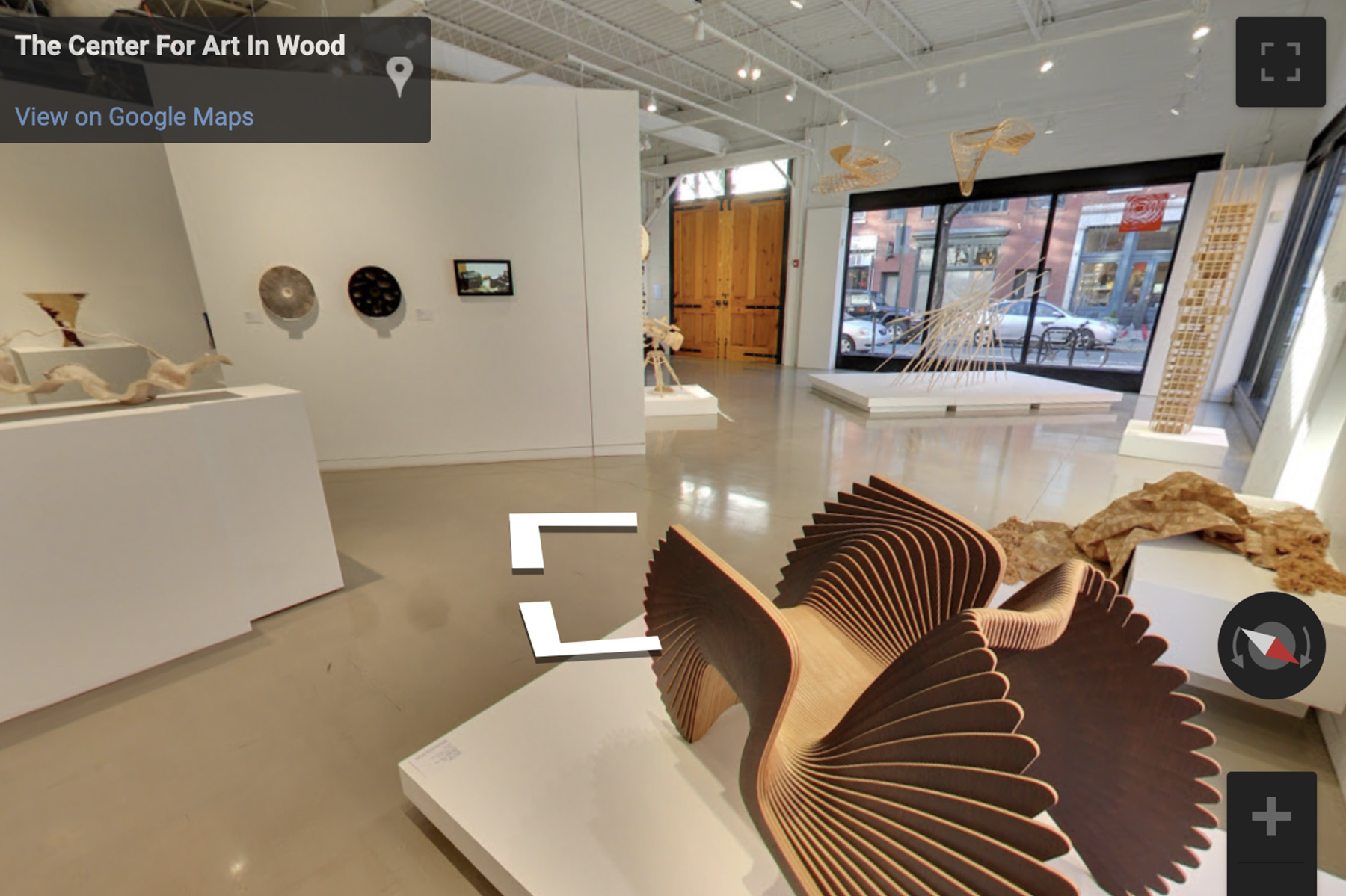 Inside the Center for Art in Wood museum - wood pieces in the gallery