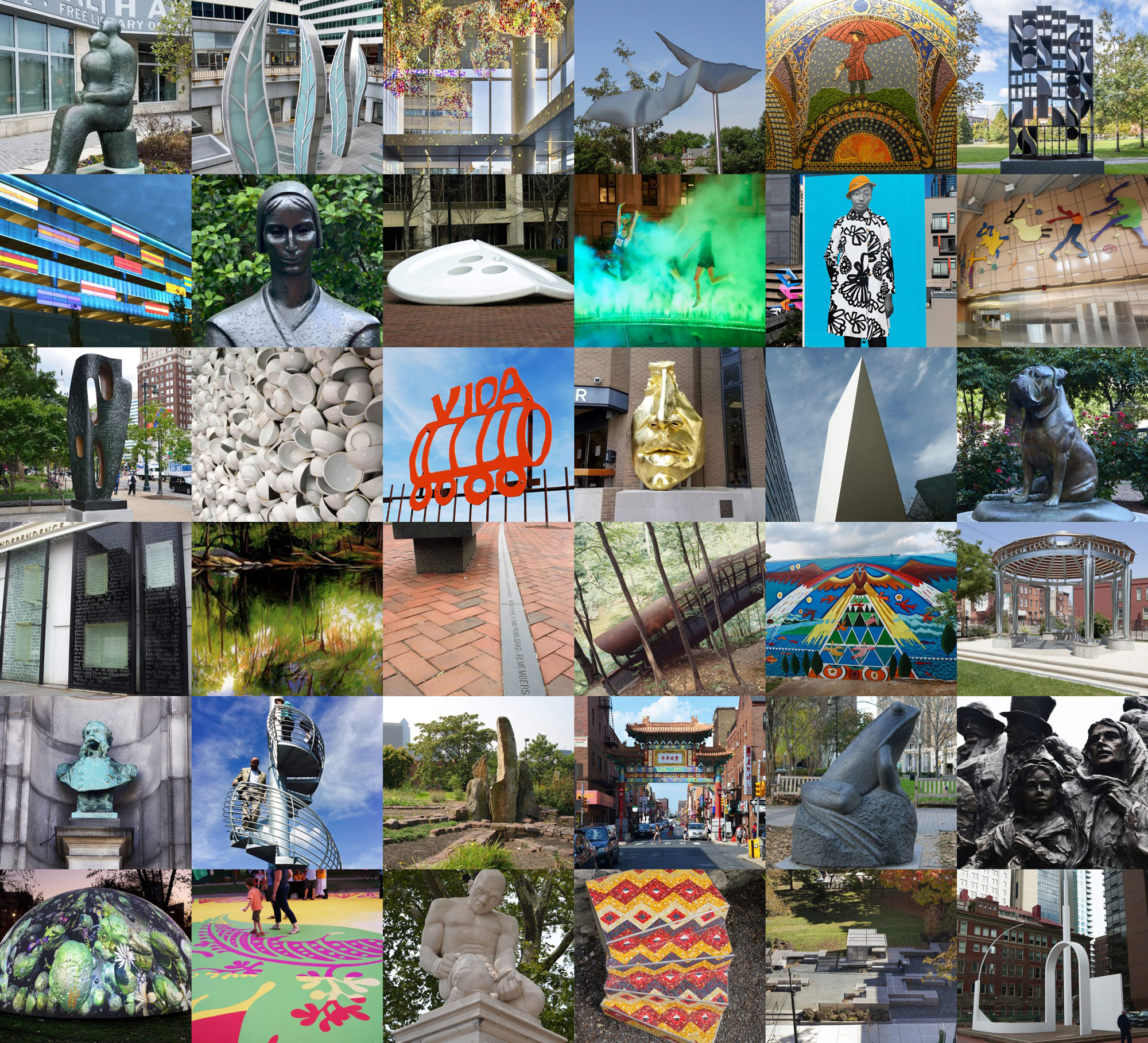 Collage of many of the public artworks in Philadelphia by women artists