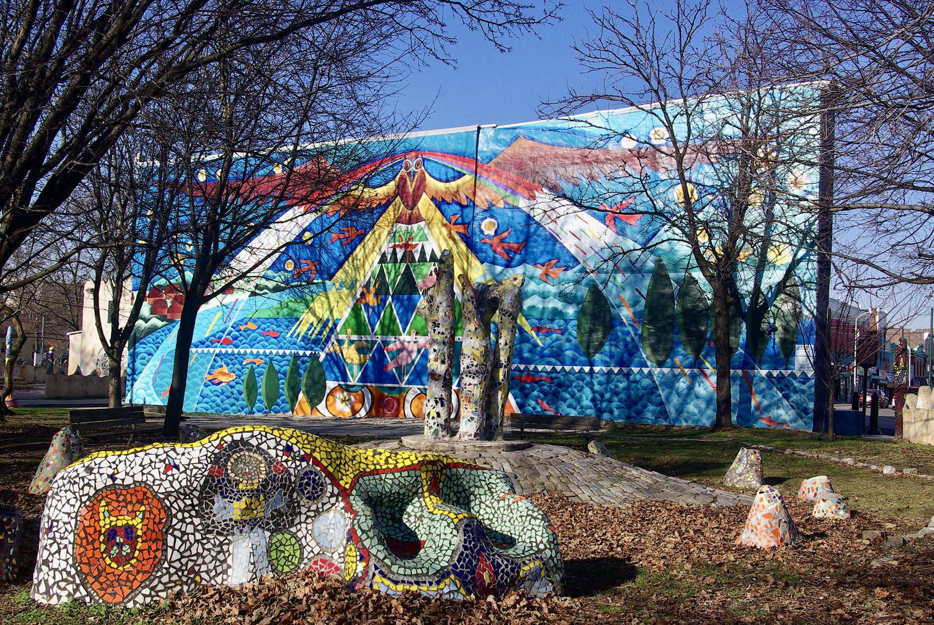 colorful mural and mosaic bench