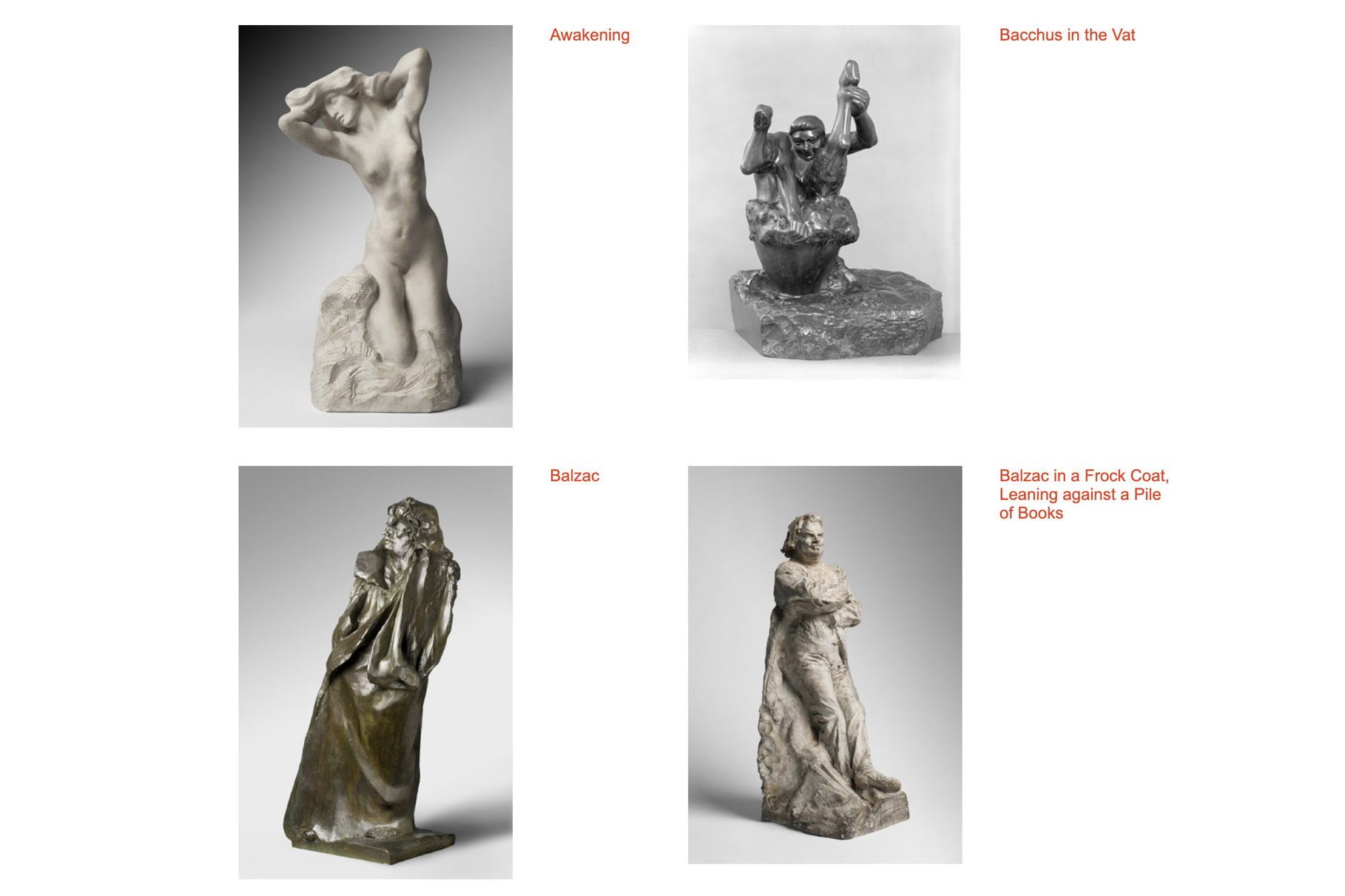 Rodin Museum's online collection – screenshot of sculptures
