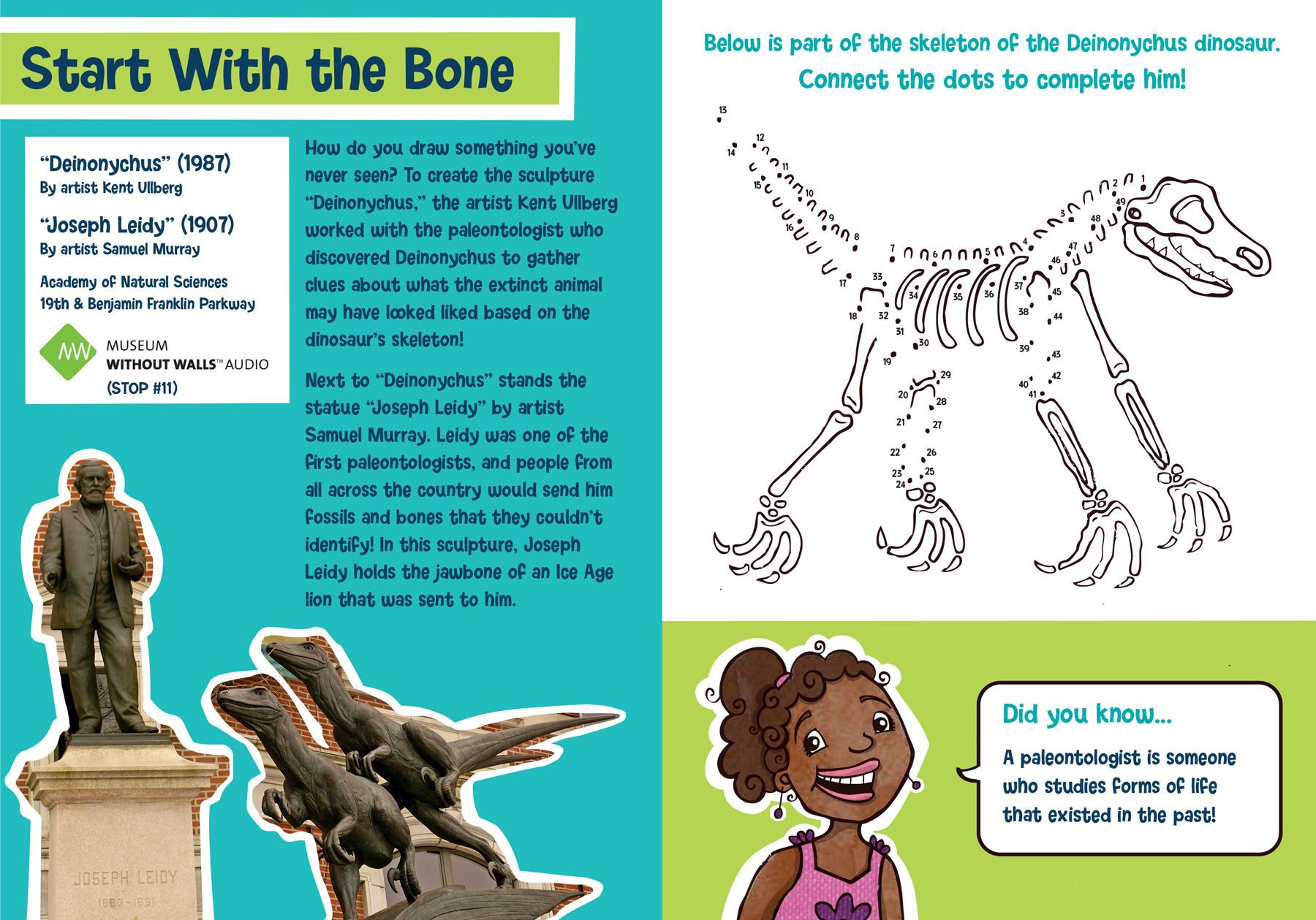 """Deinonychus"" and ""Joseph Leidy"" sculpture activity page for kids"