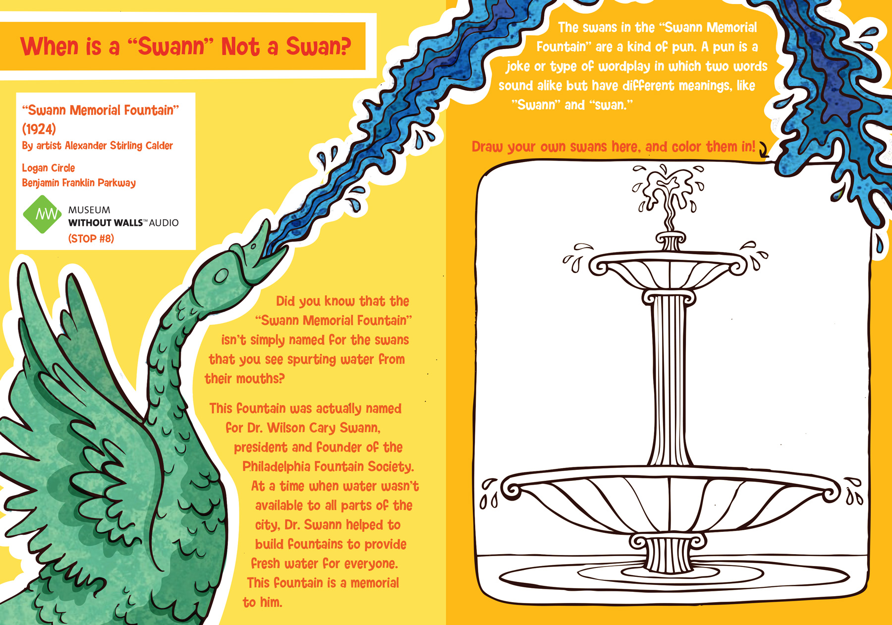 """Swann Fountain"" sculpture activity page for kids"