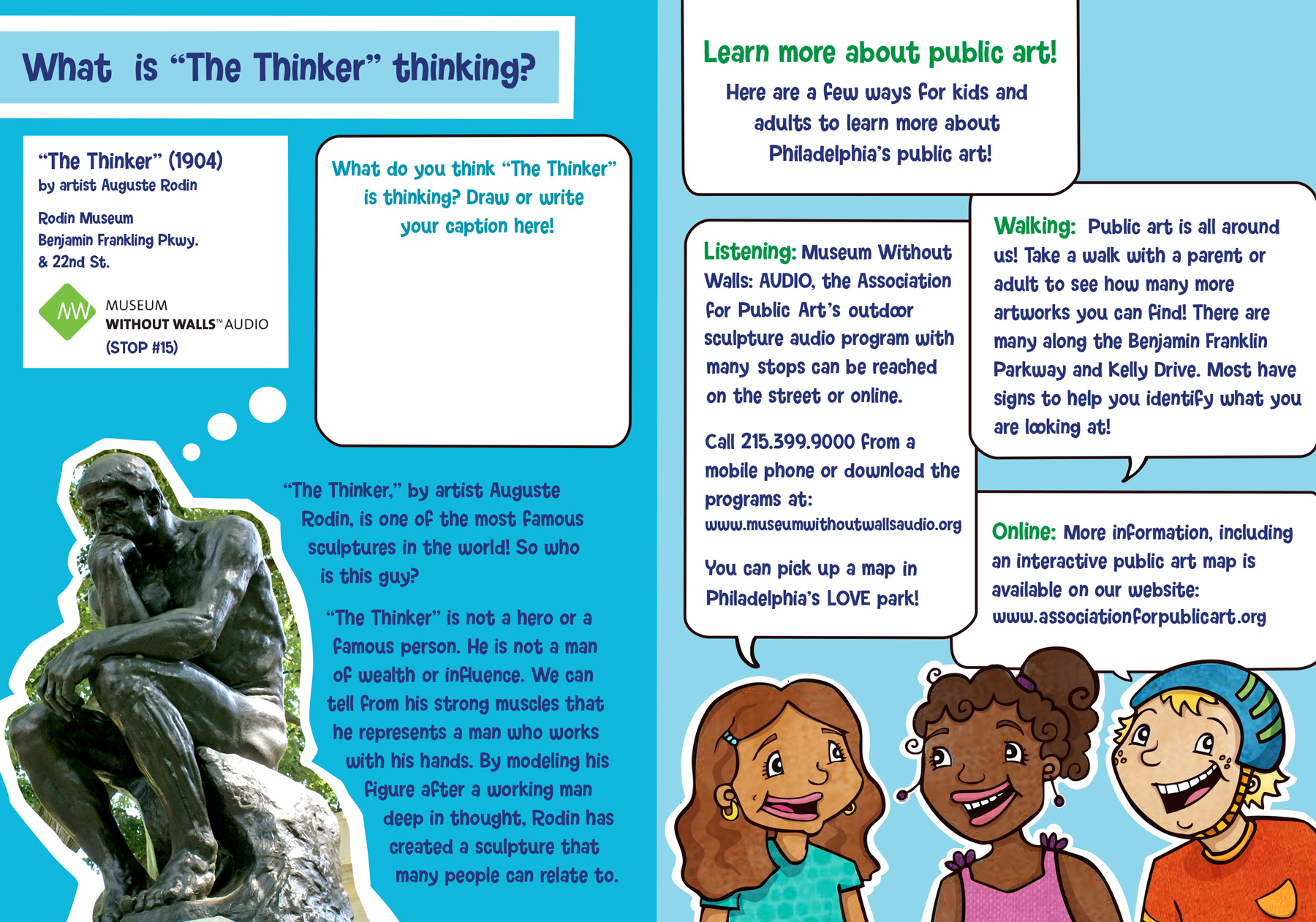 """Thinker"" sculpture activity page for kids"