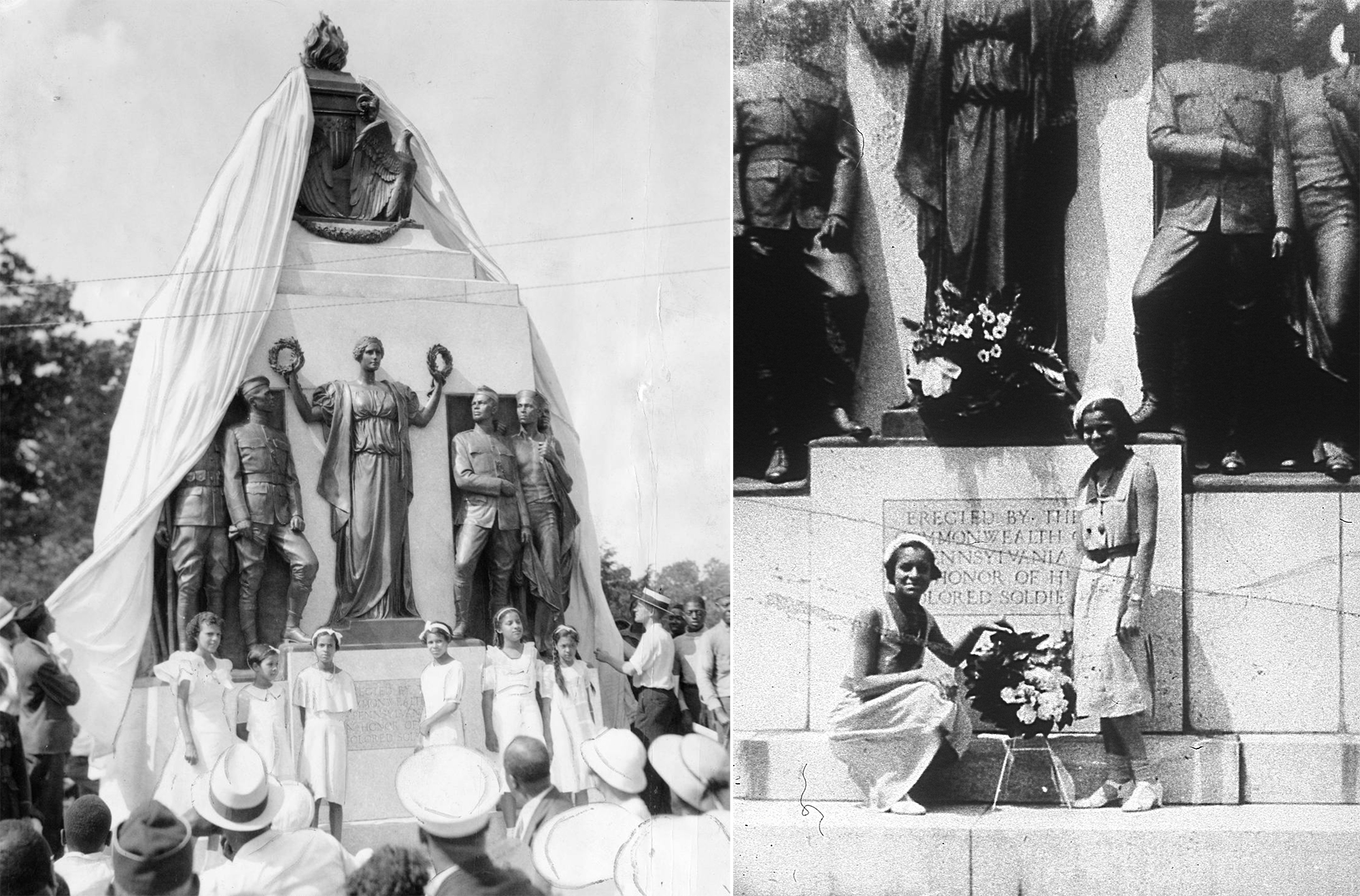1934 unveiling of the All Wars Memorial in West Fairmount Park - black and white photo