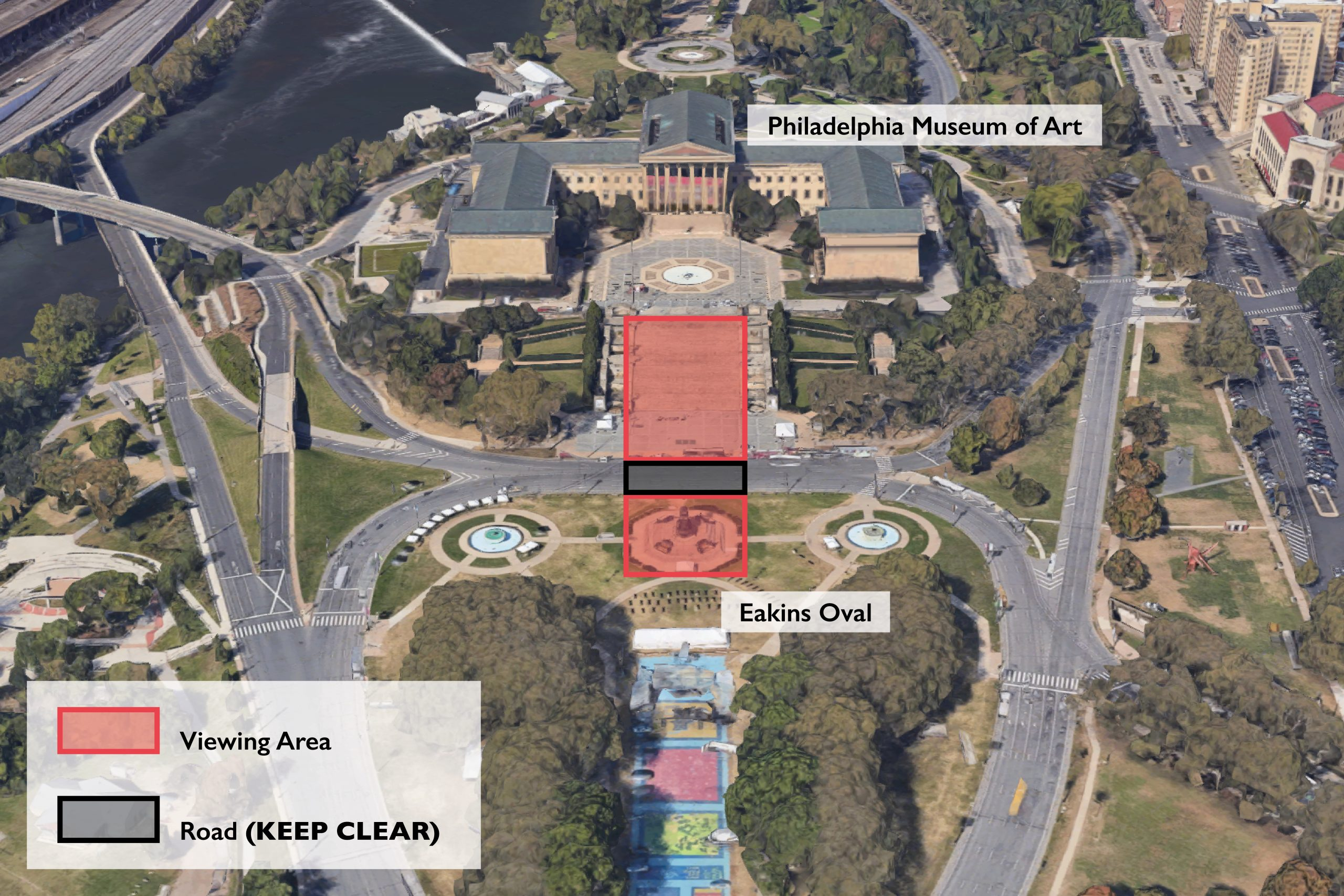 "Map of area in front of the Philadelphia Museum of Art where users can experience ""Liberty Bell"" augmented reality public art project by artist Nancy Baker Cahill"