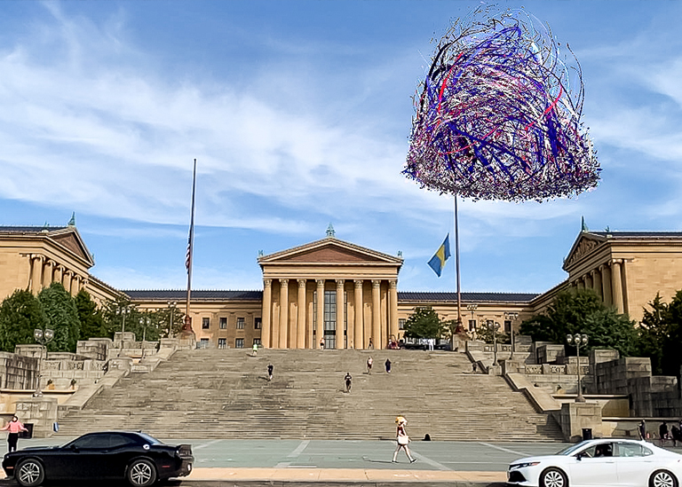 Liberty Bell augmented reality animation by Nancy Baker Cahill in front of the Philadelphia Museum of Art