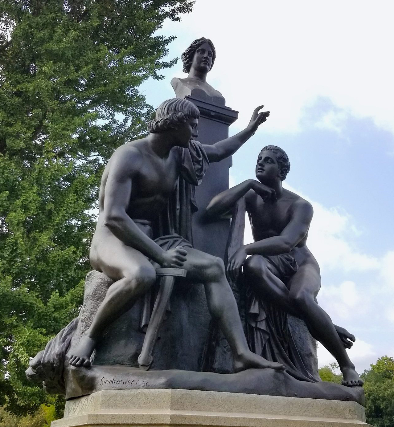 Orestes and Pylades Fountain - bronze sculpture