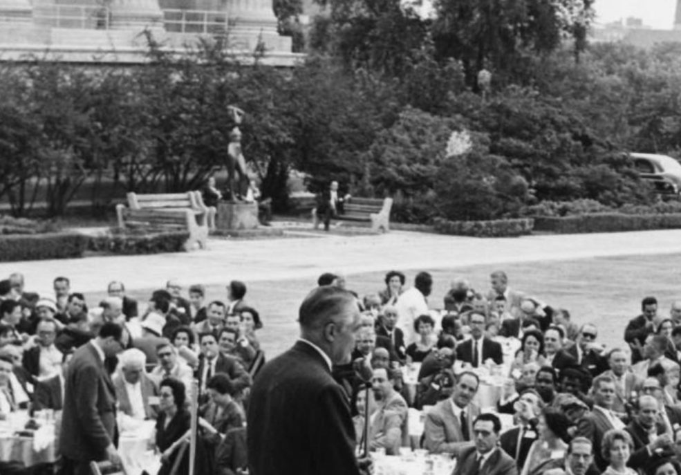 <em>Maja</em> in 1961 with Mayor Dilworth speaking in the foreground. After it was purchased by the Association in 1949, <em>Maja</em> made appearances elsewhere and was then reinstalled on the Museum's East Terrace in the 1950s. Photo courtesy Temple University's Special Collections Research Center, Philadelphia, PA.