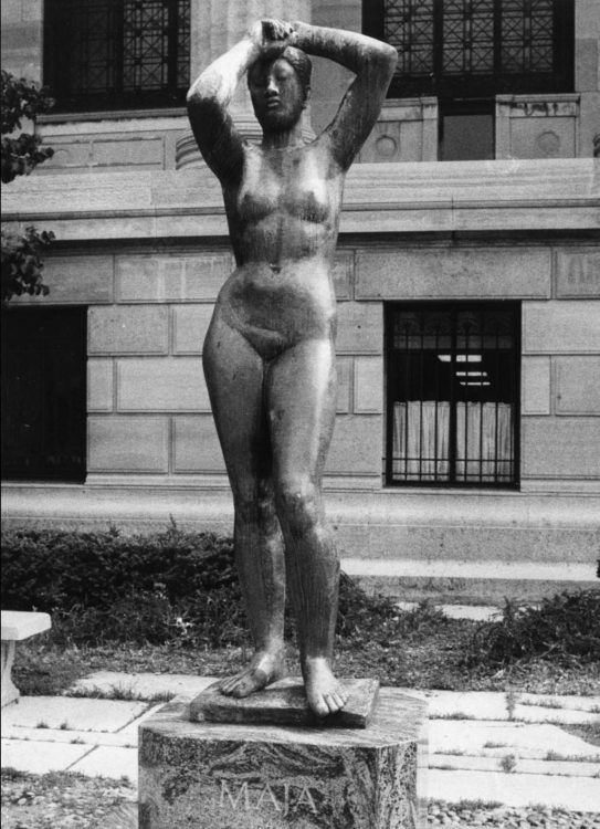 <em>Maja</em> in 1981. The sculpture was installed here on the Museum's East Terrace until 1992 when it was moved to storage due to site renovations. Photo courtesy the City of Philadelphia Department of Records.