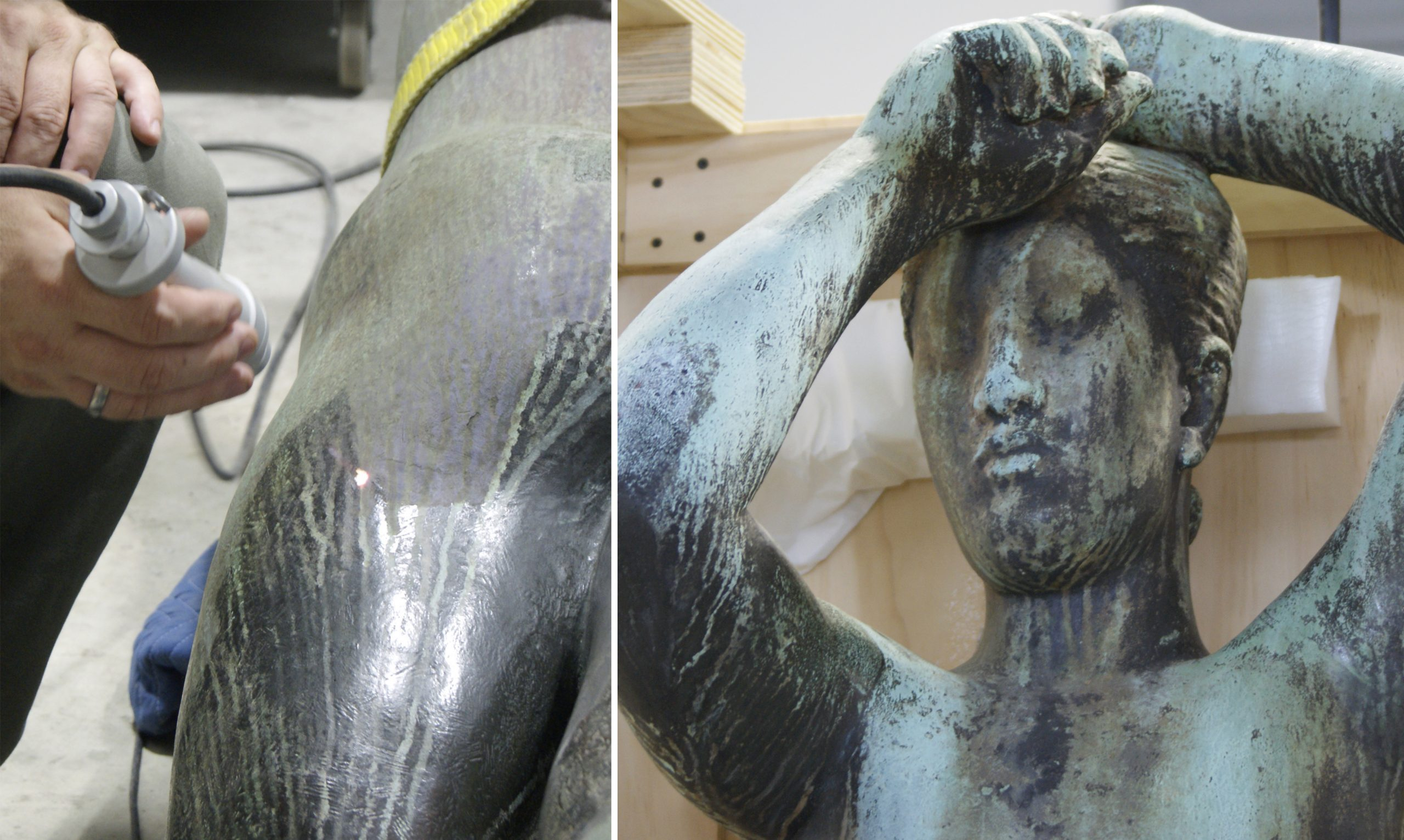 Conservation of bronze Maja sculpture using a laser to remove streaky green corrosion