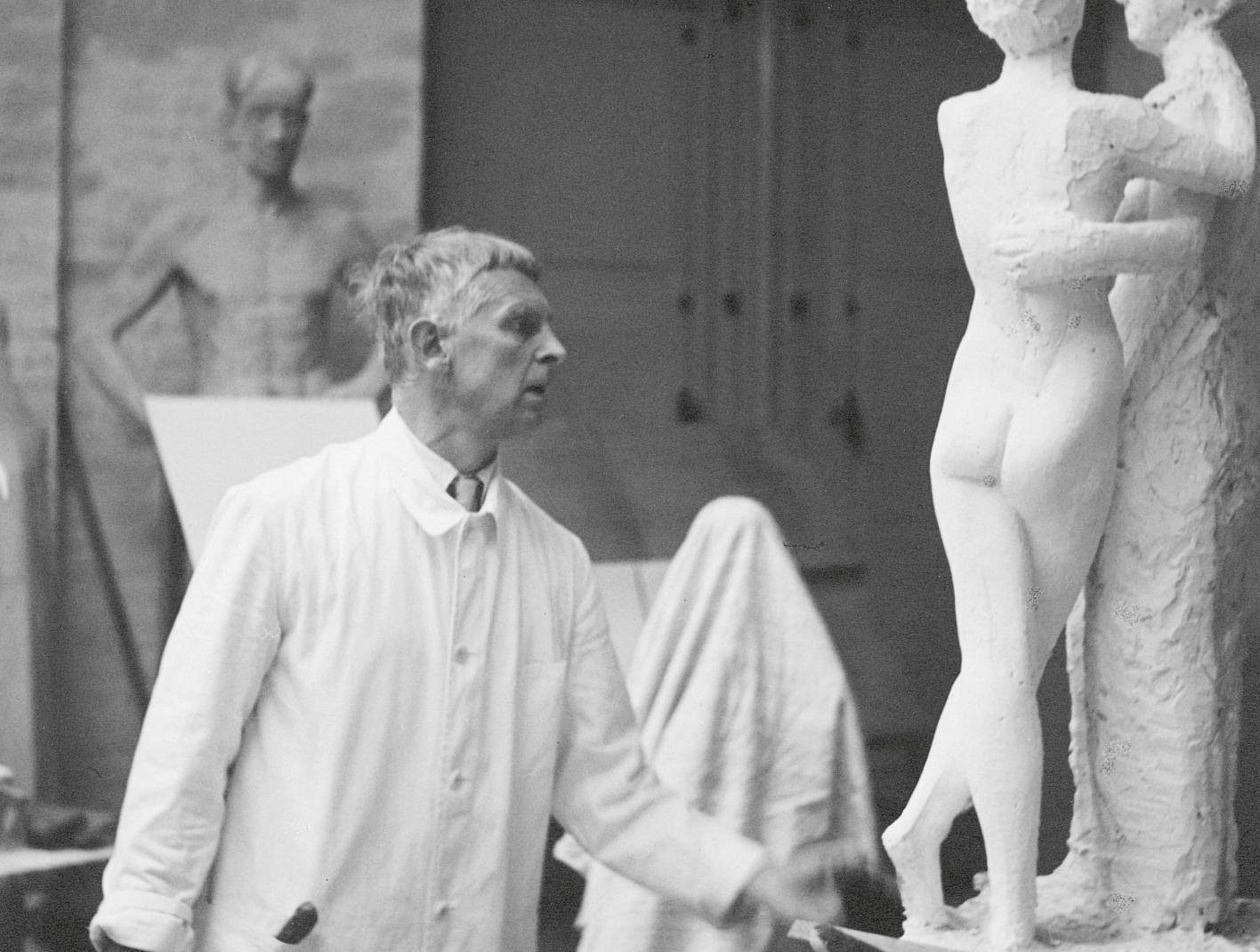 undated black and white photo of Gerhard Marcks working in his studio