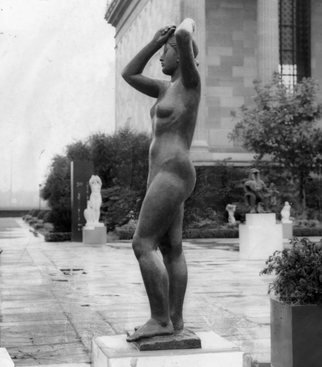 <em>Maja</em> alongside works by other significant artists at the Association's 1949 Sculpture International Exhibition. Photo courtesy Temple University's Special Collections Research Center, Philadelphia, PA.