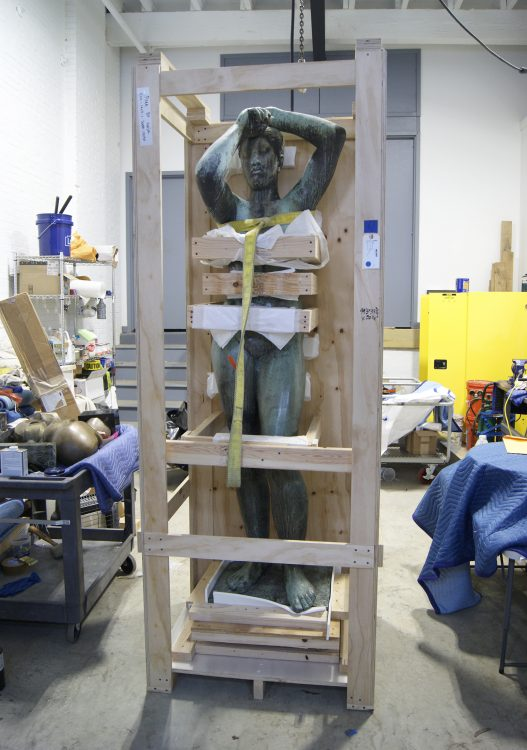 The sculpture prior to treatment, still in its storage casing. Photo © Caitlin Matin for the Association for Public Art.