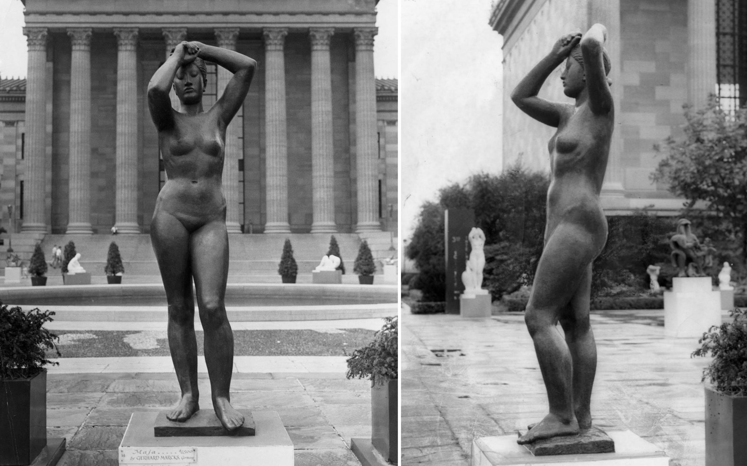 Black and white photos of Maja nude female sculpture in front of the Philadelphia Museum of Art in 1949