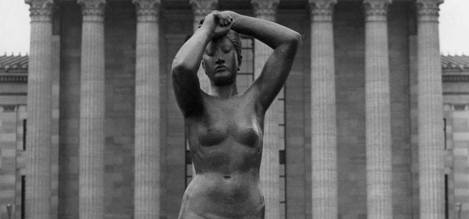 Historic black and white photo of Maja nude female sculpture in front of the Philadelphia Museum of Art in 1949 - banner image
