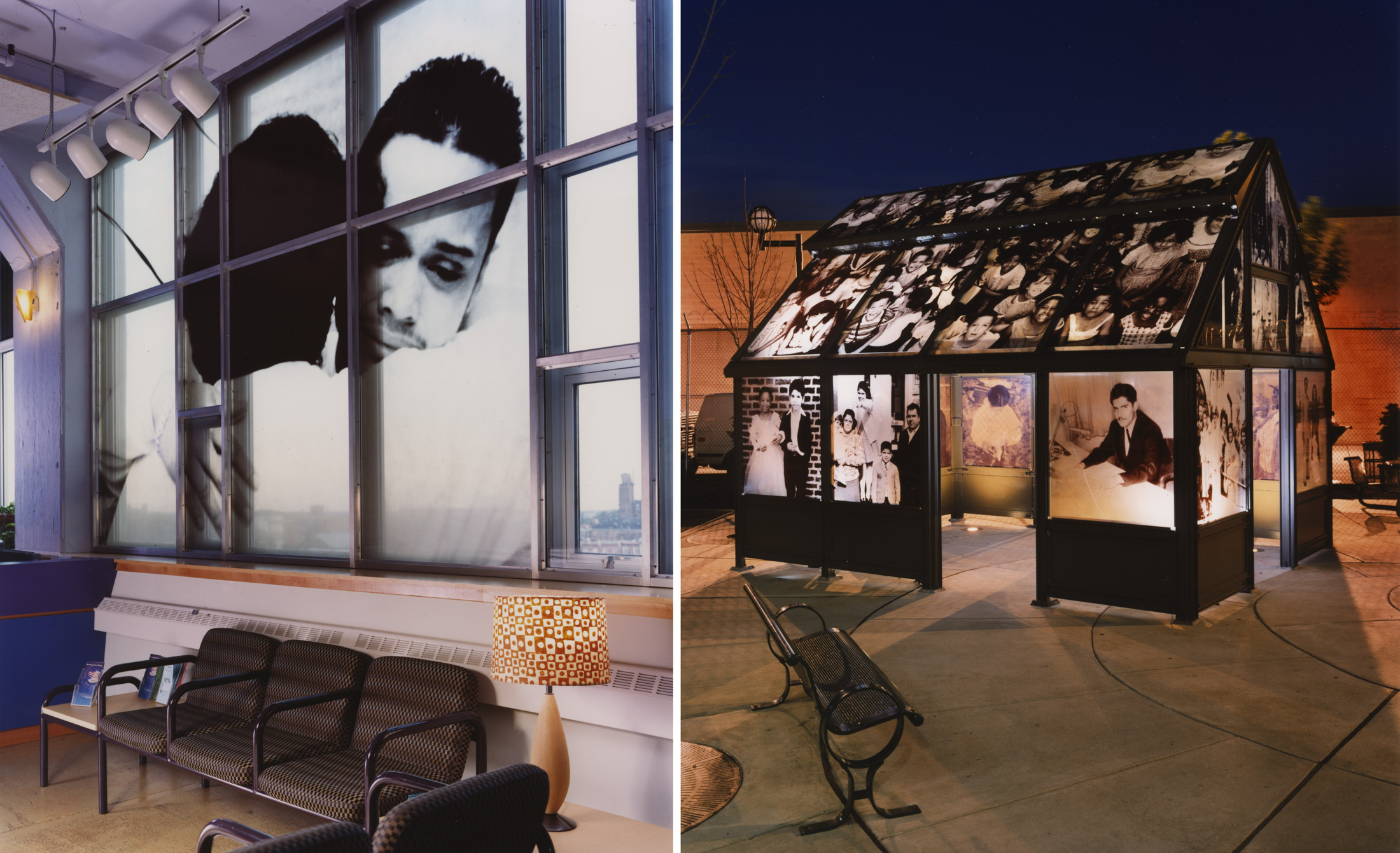 """Photos of Pepón Osorio's """"I have a story to tell you..."""" installation that show how the photographs were enlarged and transferred to glass panels that comprise the artwork. The"""