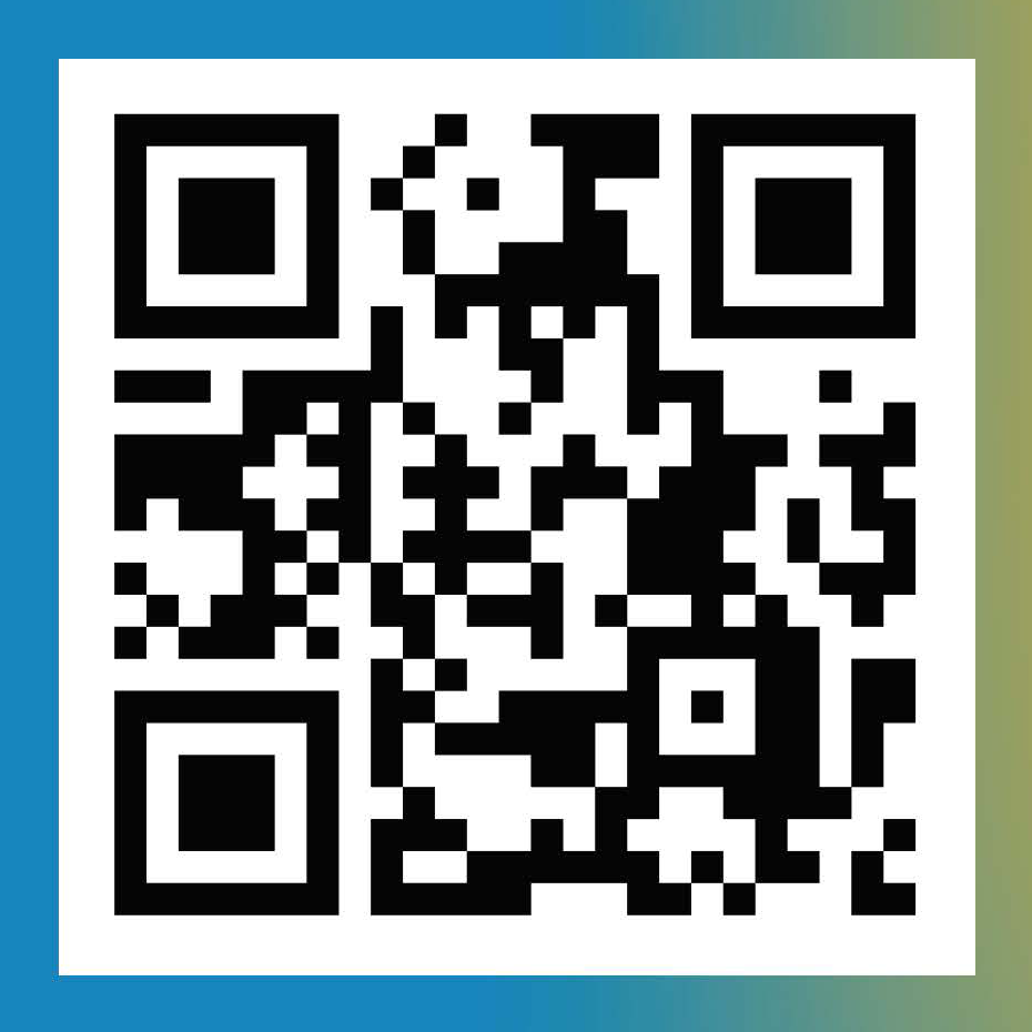 QR code the the SOUNDWALK audio experience app, surrounded by blue/green gradient border